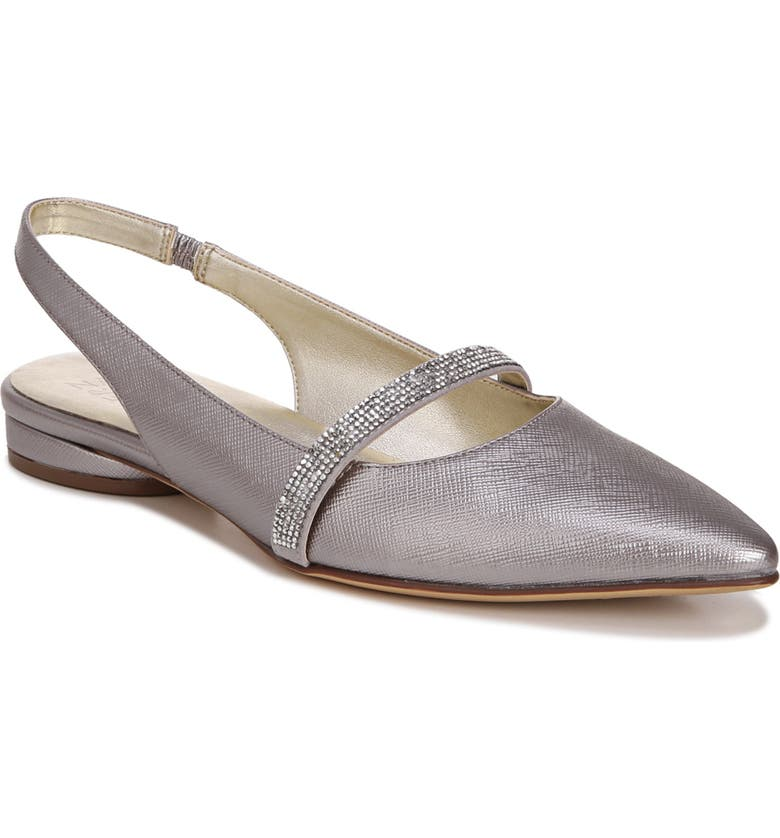 NATURALIZER Hally Slingback Flat, Main, color, SILVER FAUX LEATHER