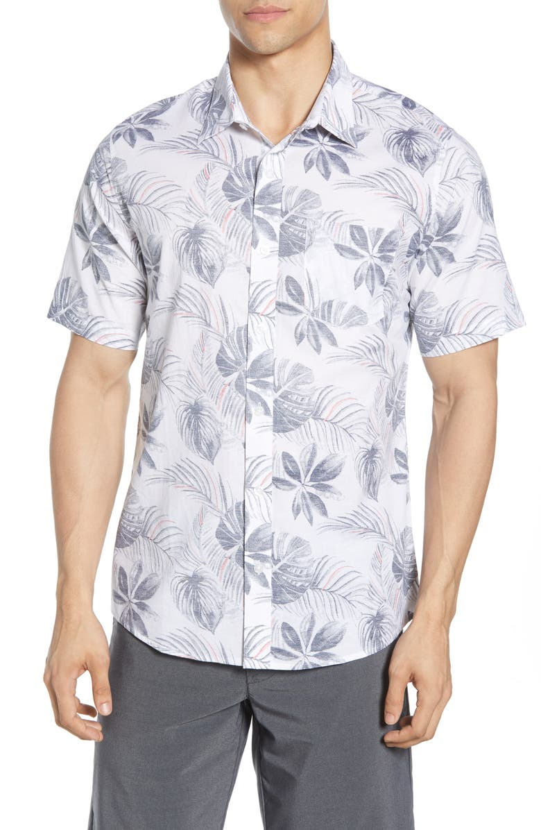 TRAVISMATHEW Split It Regular Fit Short Sleeve Button-Up Shirt, Main, color, WHITE