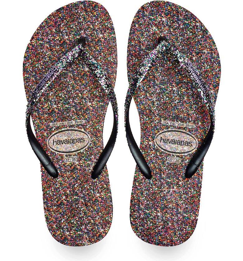 HAVAIANAS Slim Glitter Flip Flop, Main, color, PURPLE
