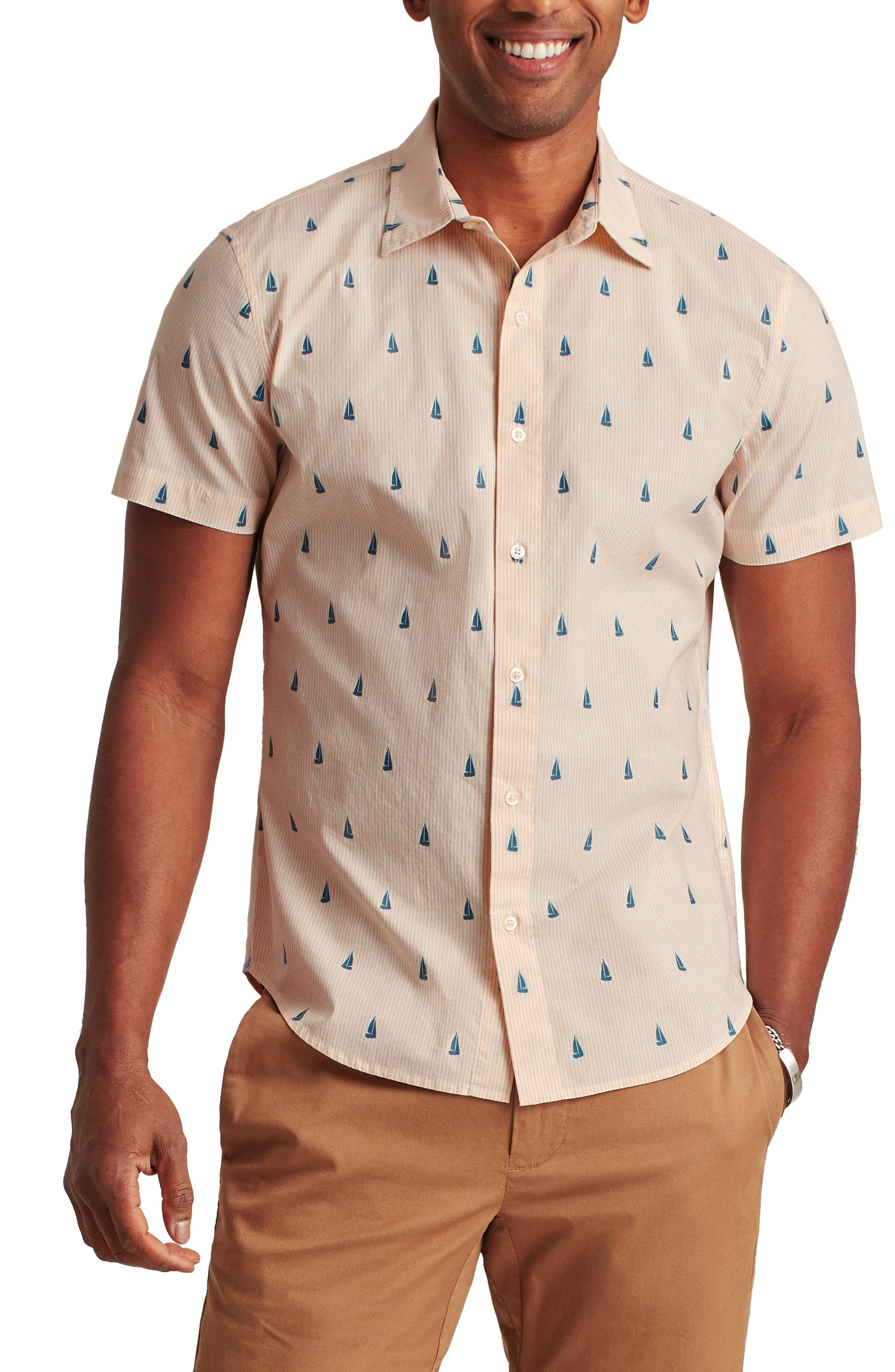 Rivie Slim Fit Stretch Print Short Sleeve Button-Up Shirt