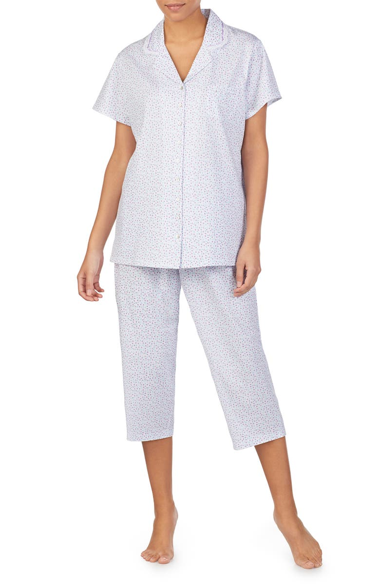 EILEEN WEST Jersey Crop Pajamas, Main, color, WHITE GROUND MULTI DITSY