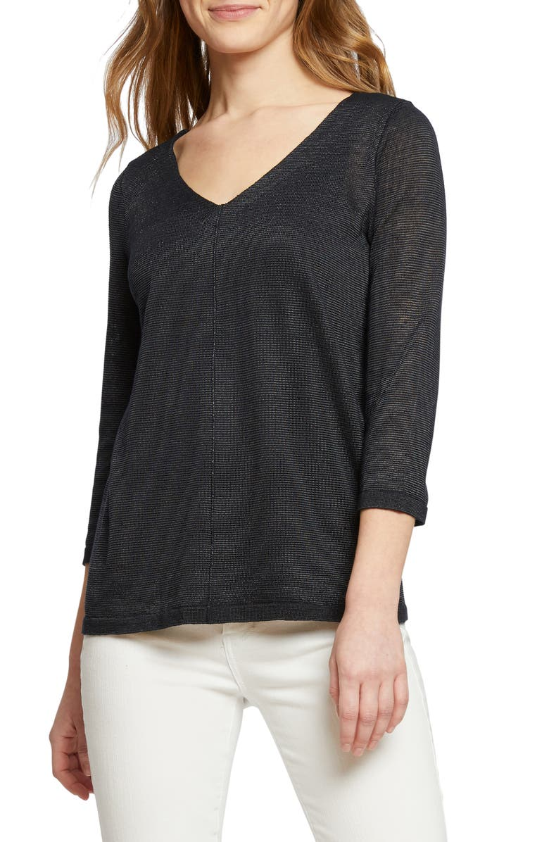 NIC+ZOE Tie Back Linen Blend Knit Top, Main, color, MIDNIGHT