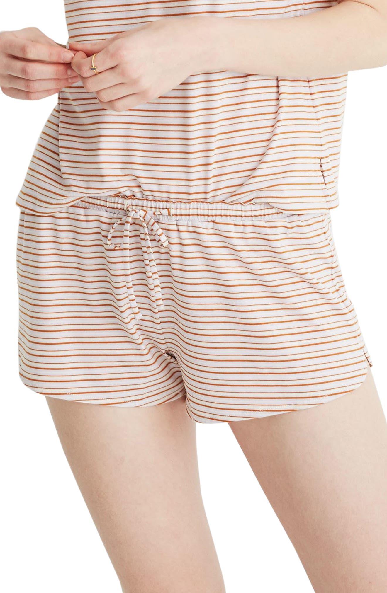 Plus Size Madewell Stripe Knit Pajama Shorts, Size - Purple