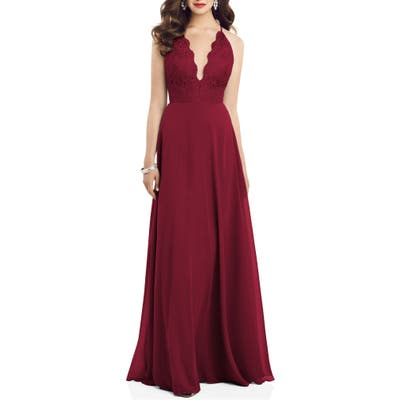 Dessy Collection Plunge Neck Lace & Chiffon Gown, Burgundy