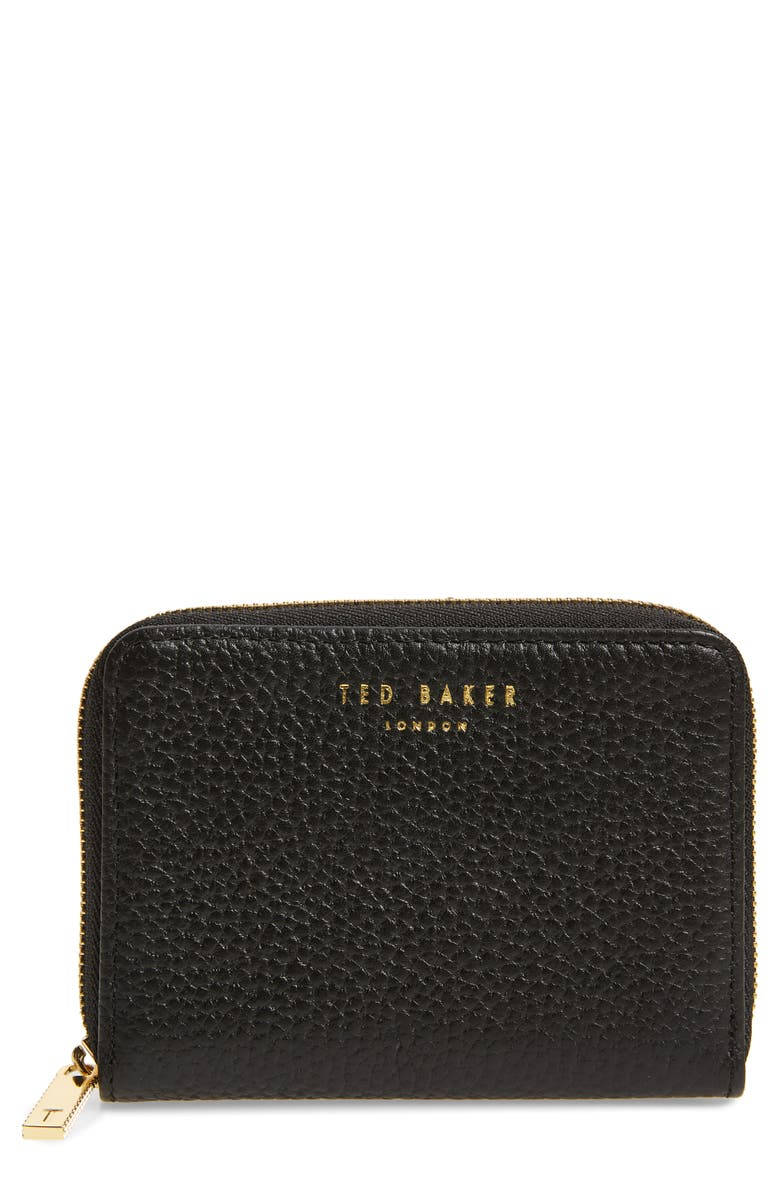 TED BAKER LONDON Mini Illda Zip-Around Leather Clutch, Main, color, 001