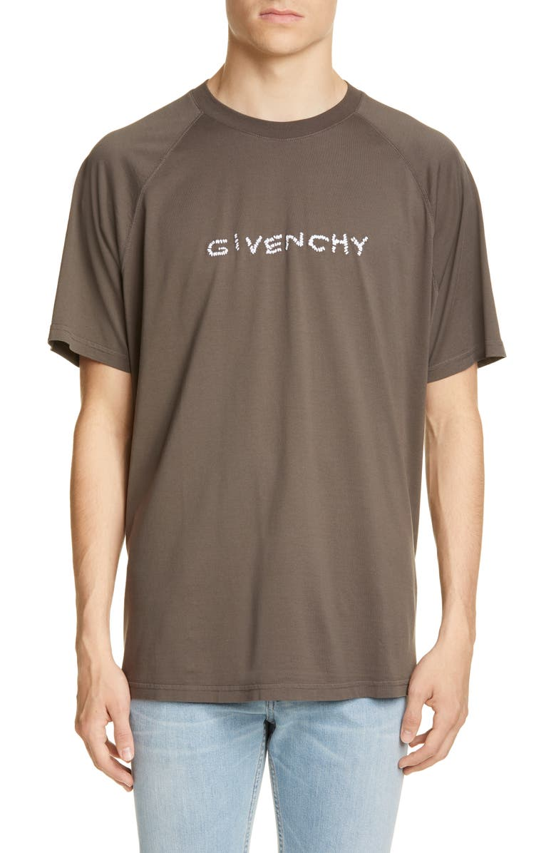 GIVENCHY Embroidered Oversize Raglan T-Shirt, Main, color, CHARCOAL
