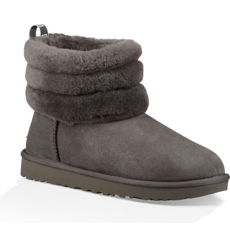 UGG<SUP>®</SUP> Classic Mini Fluff Quilted Boot, Main, color, CHARCOAL SUEDE