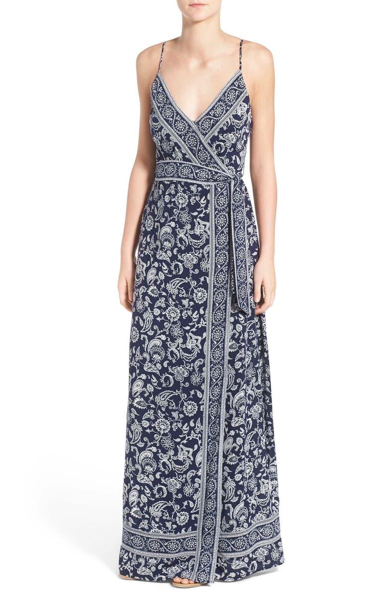 PAIGE 'Regina' Print Maxi Surplice Dress, Main, color, 404