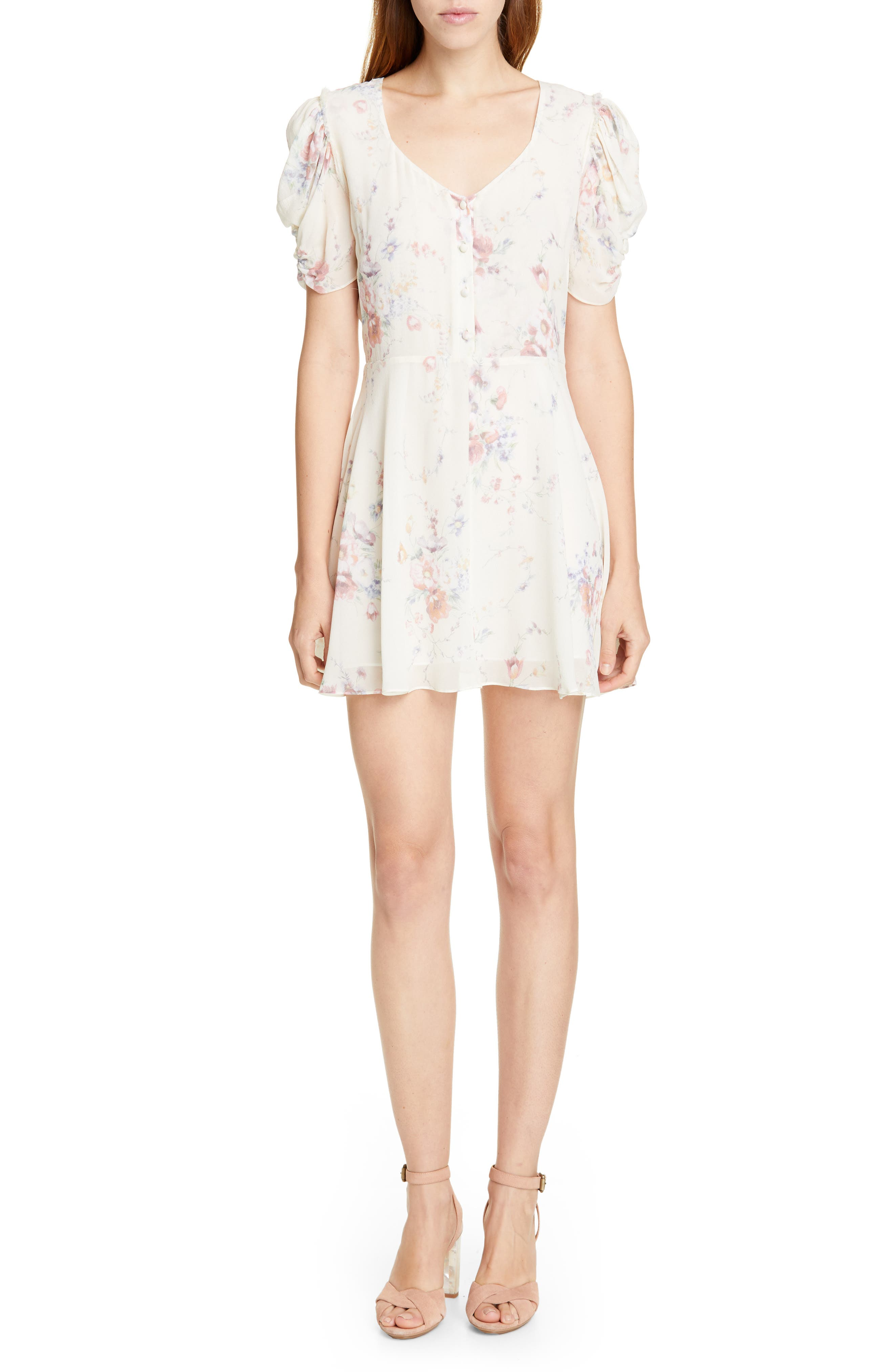 Loveshackfancy Cora Floral Silk Minidress, White