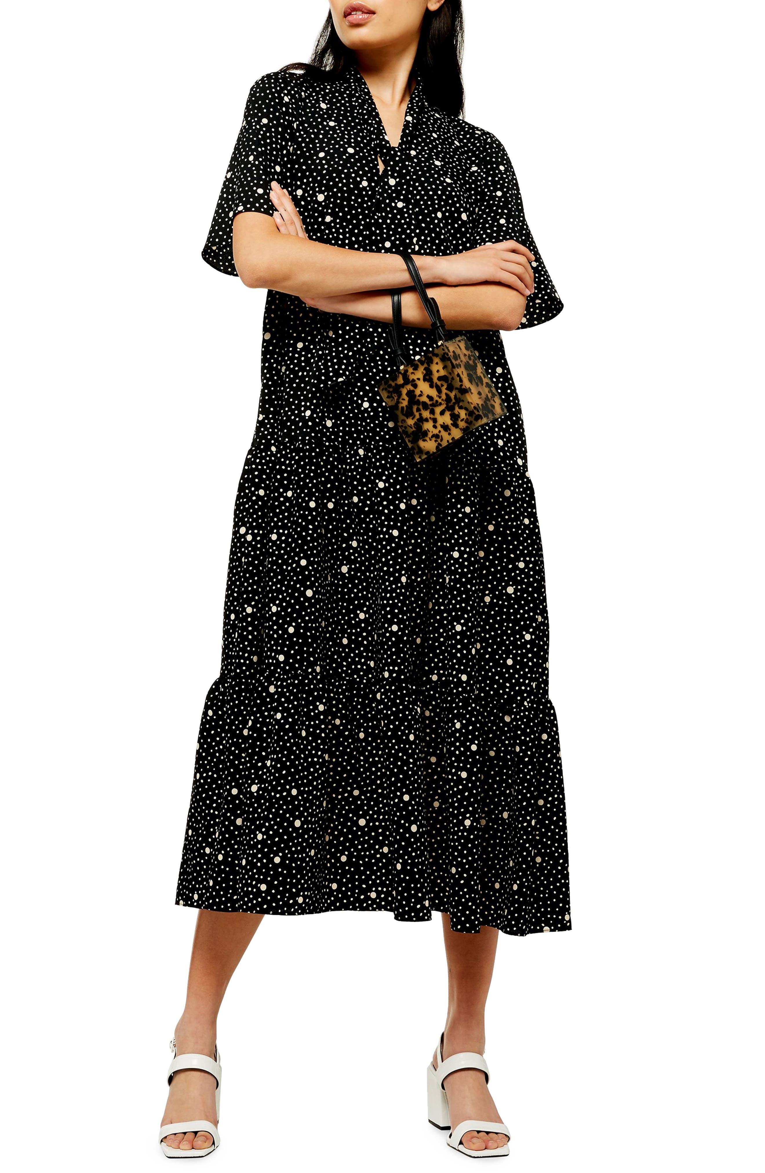 Topshop Spot Print Tie Neck Midi Dress, US (fits like 0-2) - Black