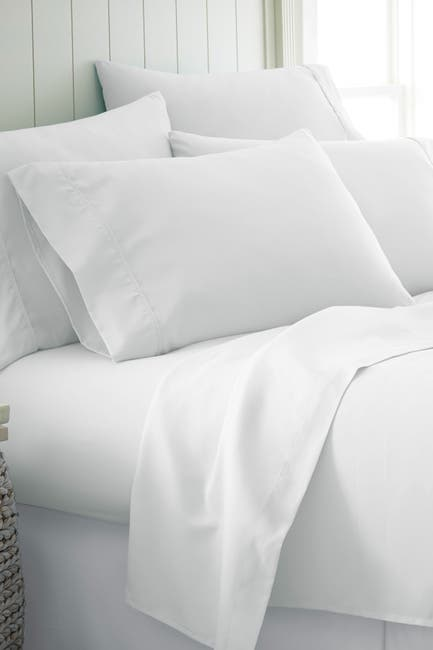 Image of IENJOY HOME Queen Hotel Collection Premium Ultra Soft 6-Piece Bed Sheet Set -White