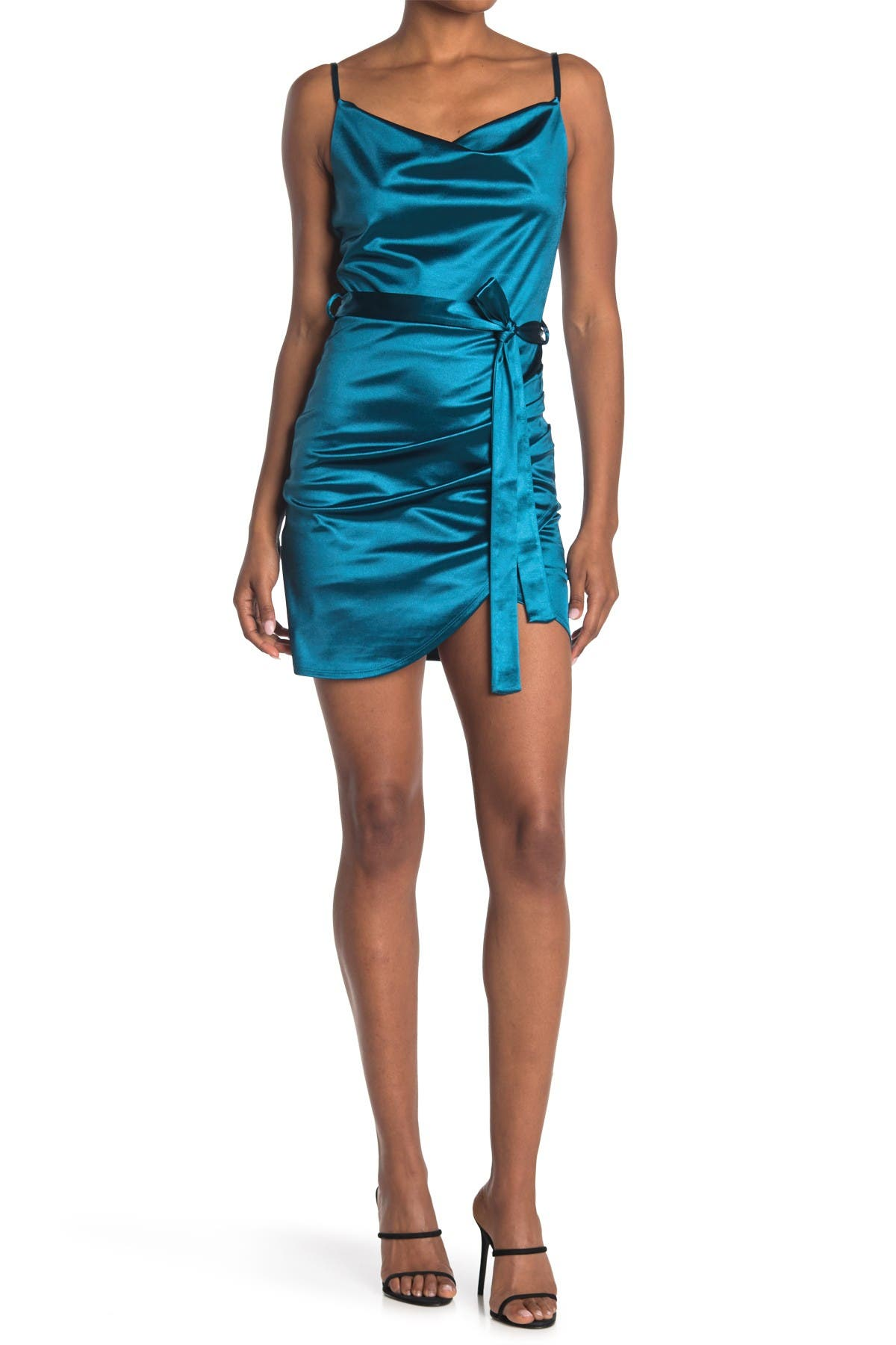 Image of Love, Nickie Lew Drape Neck Satin Belted Dress