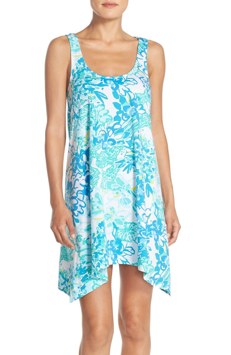 LILLY PULITZER<SUP>®</SUP> 'Monterey' Print Cotton Cutout Trapeze Dress, Main, color, 115