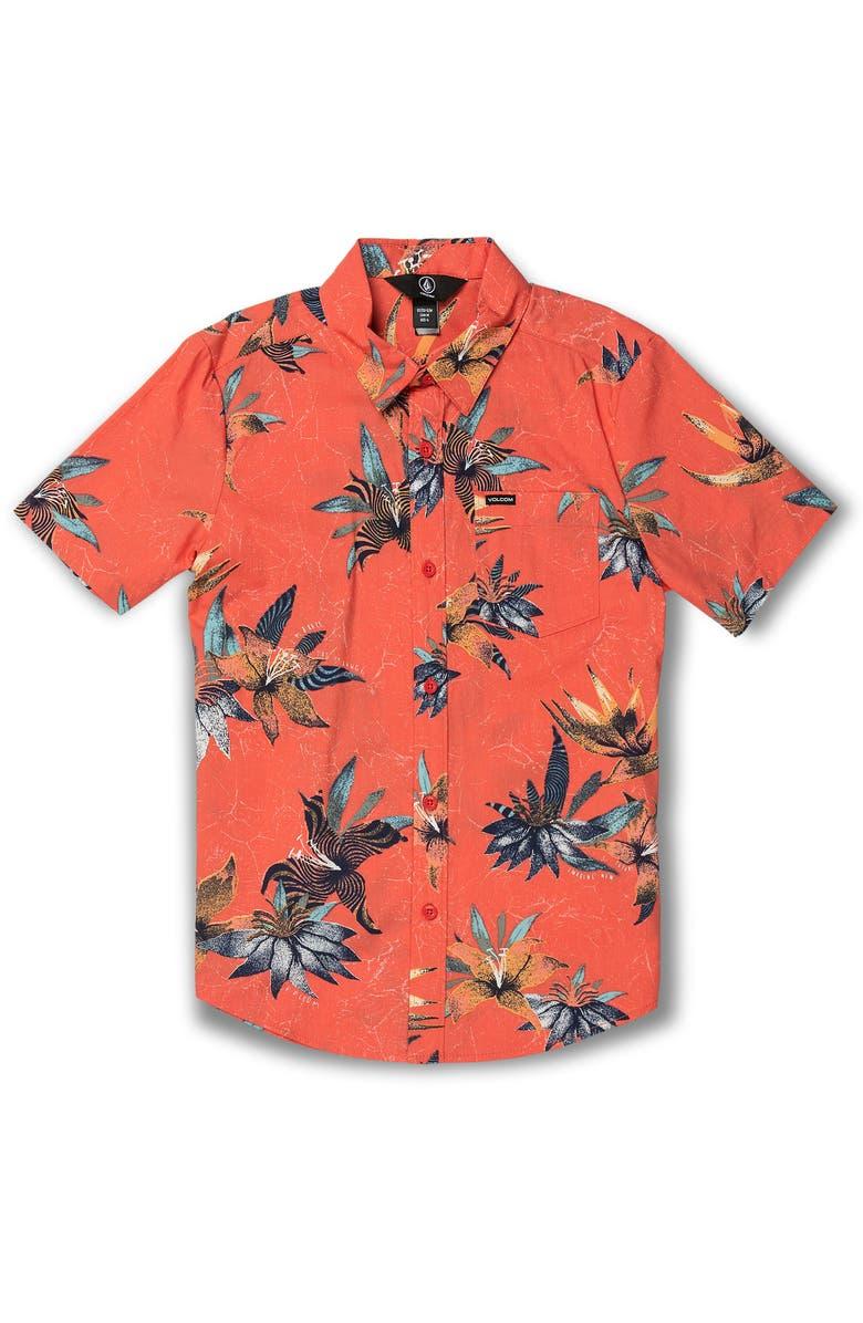 VOLCOM Verano Stone Tropical Short Sleeve Button-Up Shirt, Main, color, CAYENNE