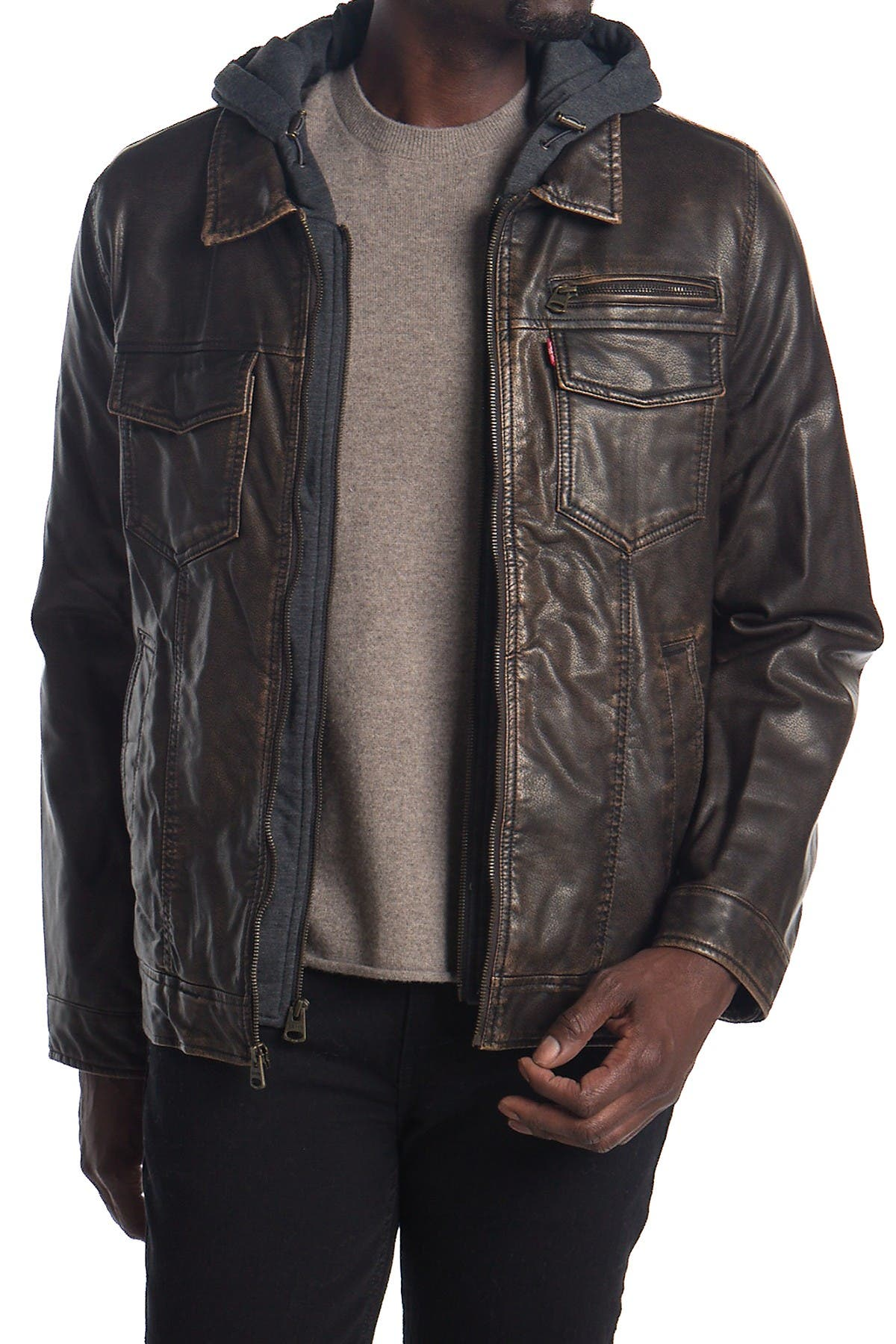 Image of Levi's Faux Leather & Faux Shearling Hooded Jacket