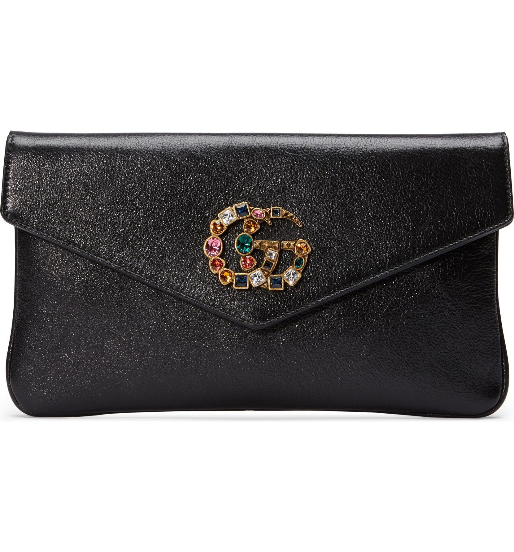 c53c6c82ba80 Gucci Broadway Crystal GG Leather Envelope Clutch | Nordstrom