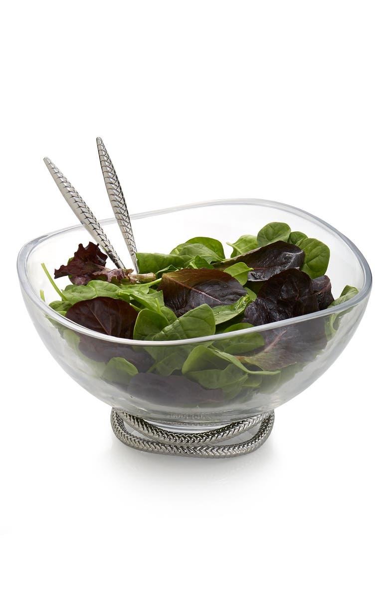 NAMBÉ 'Braid' Glass Salad Bowl & Servers, Main, color, SILVER