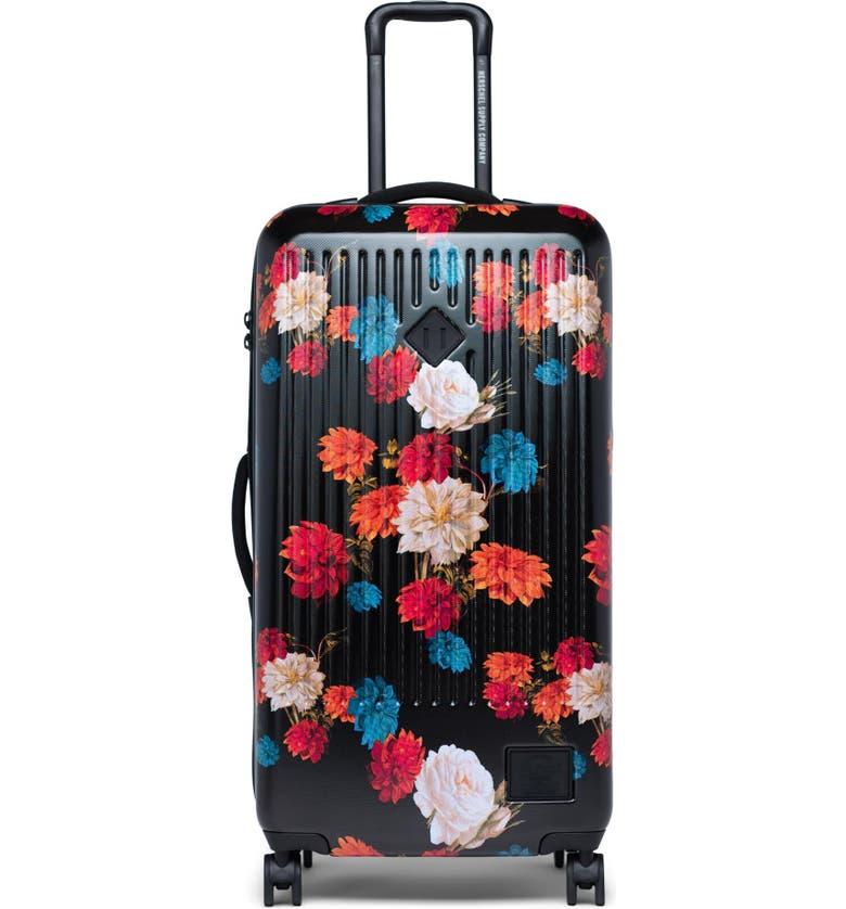 HERSCHEL SUPPLY CO. Large Trade 34-Inch Rolling Suitcase, Main, color, VINTAGE FLORAL BLACK