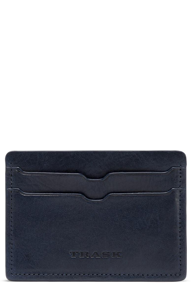 TRASK Sutton Card Case, Main, color, NAVY