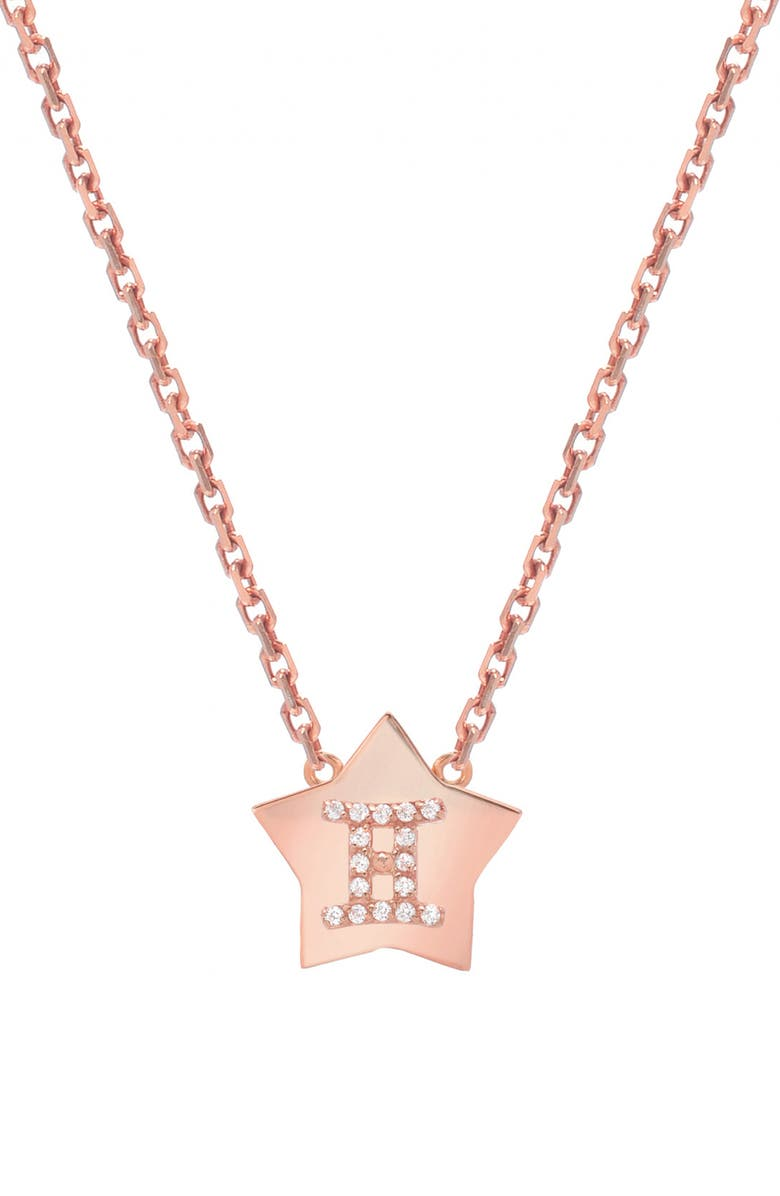 MINI MINI JEWELS Framed Diamond Zodiac Sign Star Pendant Necklace, Main, color, ROSE GOLD-GEMINI