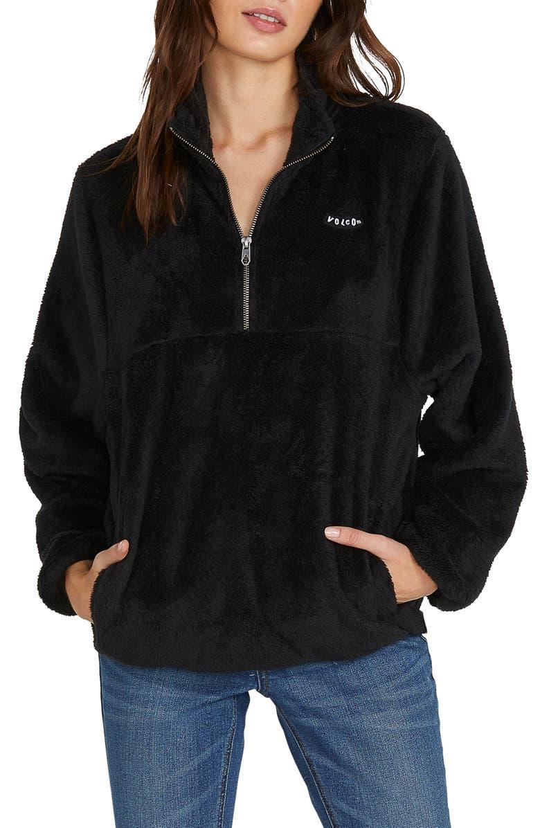 VOLCOM Pheelin Phuzzy Pullover, Main, color, BLACK
