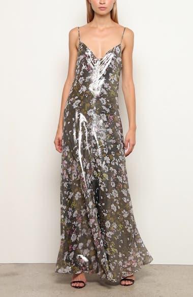 Floral Print Metallic Silk Maxi Dress, video thumbnail