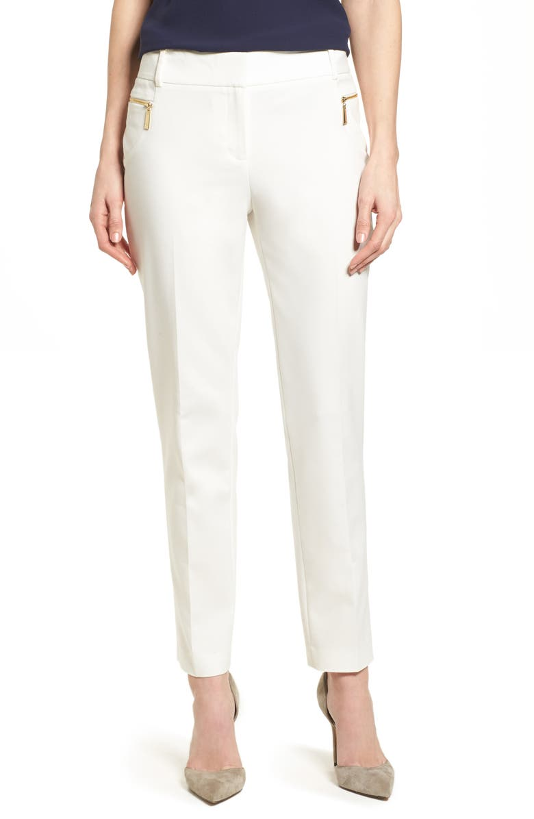 CHAUS Dena Zip Pocket Ankle Pants, Main, color, 103-NEW IVORY