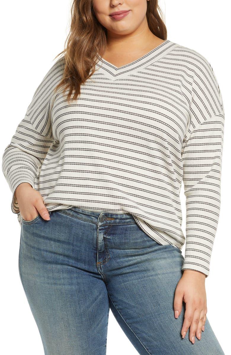 SANCTUARY Eryka Stripe Top, Main, color, BLACK STRIPE