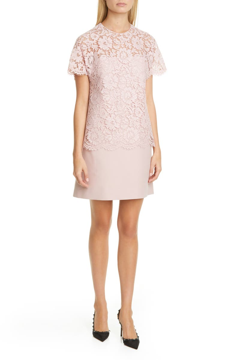 VALENTINO Lace & Crepe Couture Minidress, Main, color, SOFT PINK