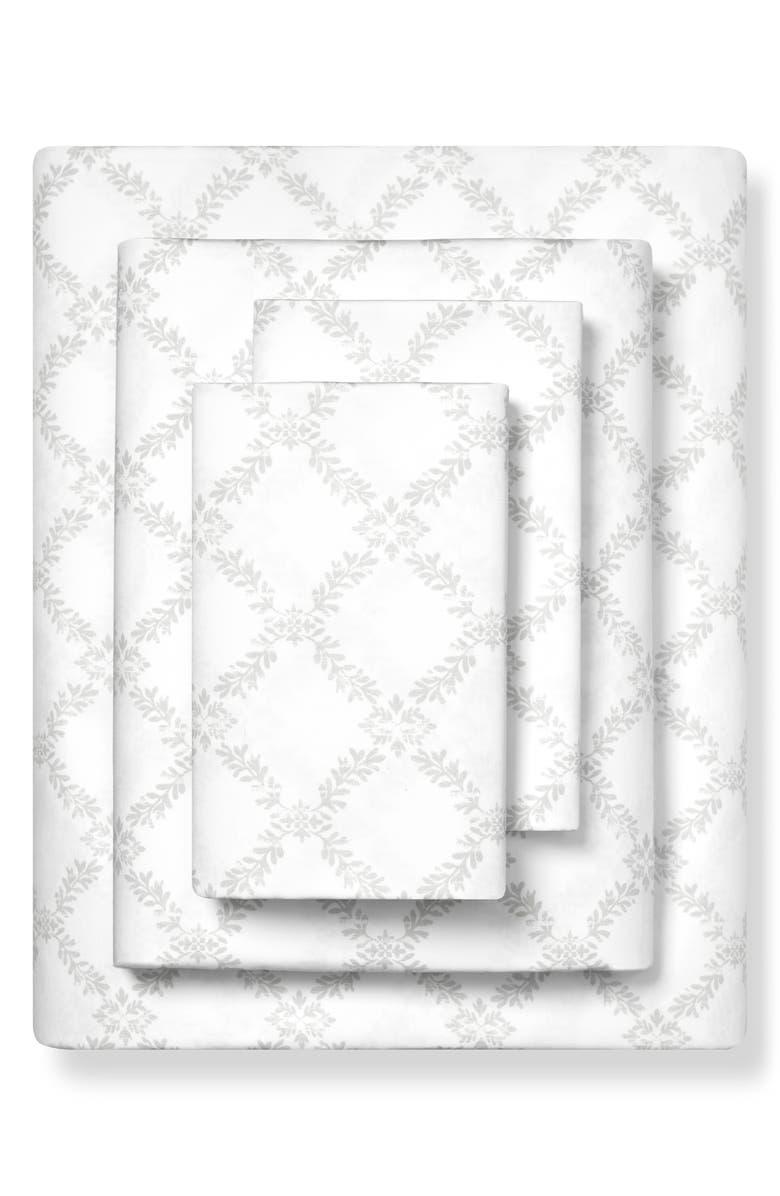 BOLL & BRANCH Trellis Print 300 Thread Count Organic Cotton Sheet Set, Main, color, PEWTER