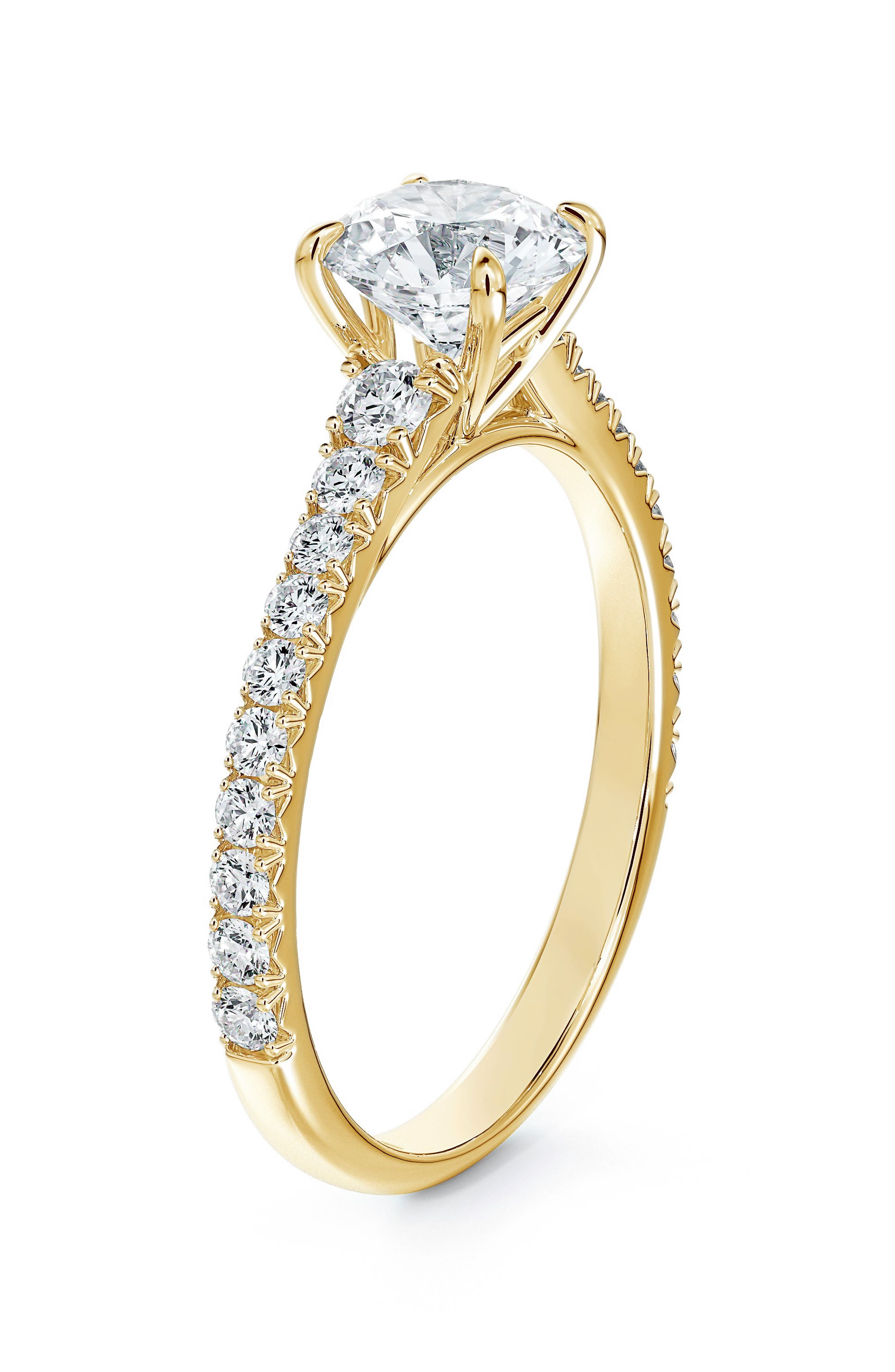 Icon(TM) Setting Round Diamond Engagement Ring With Diamond Band