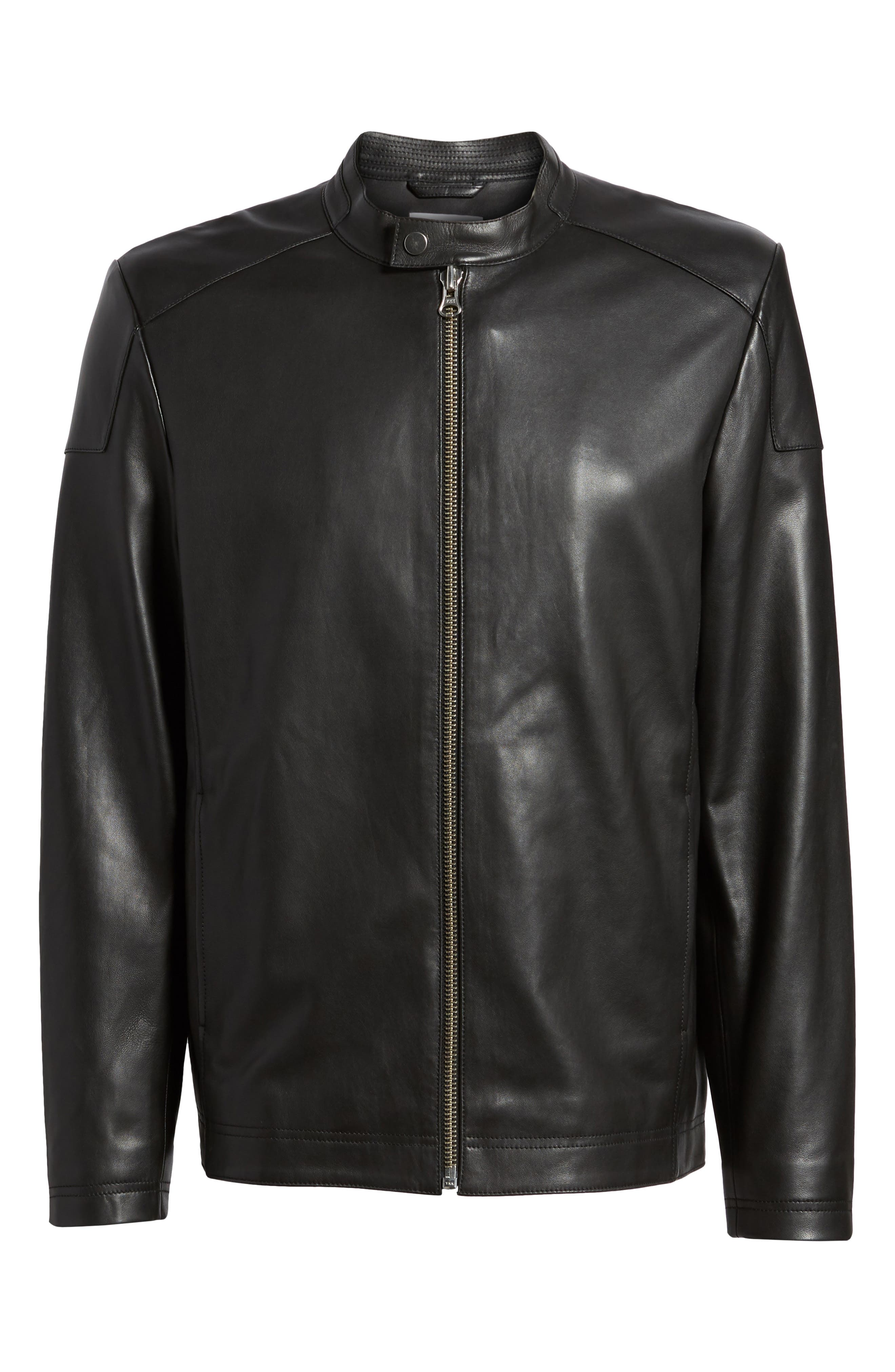,                             Leather Moto Jacket,                             Alternate thumbnail 7, color,                             001