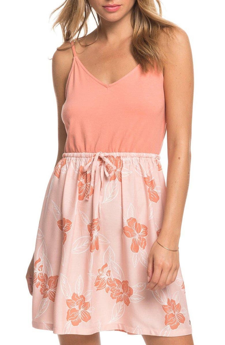 ROXY Moon Mouth Sundress, Main, color, SILVER PINK PHILLY