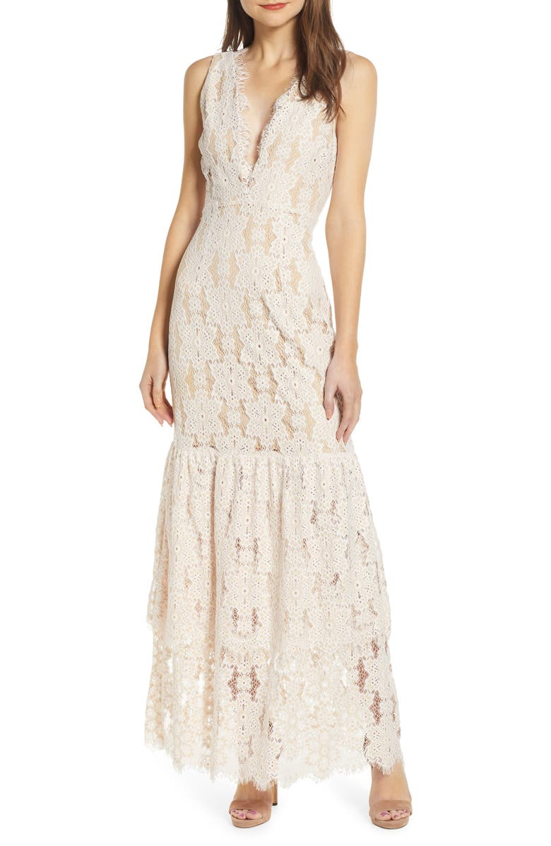 WAYF Meander Tiered Lace Cotton Blend Maxi Dress, Main, color, IVORY/ NUDE LACE