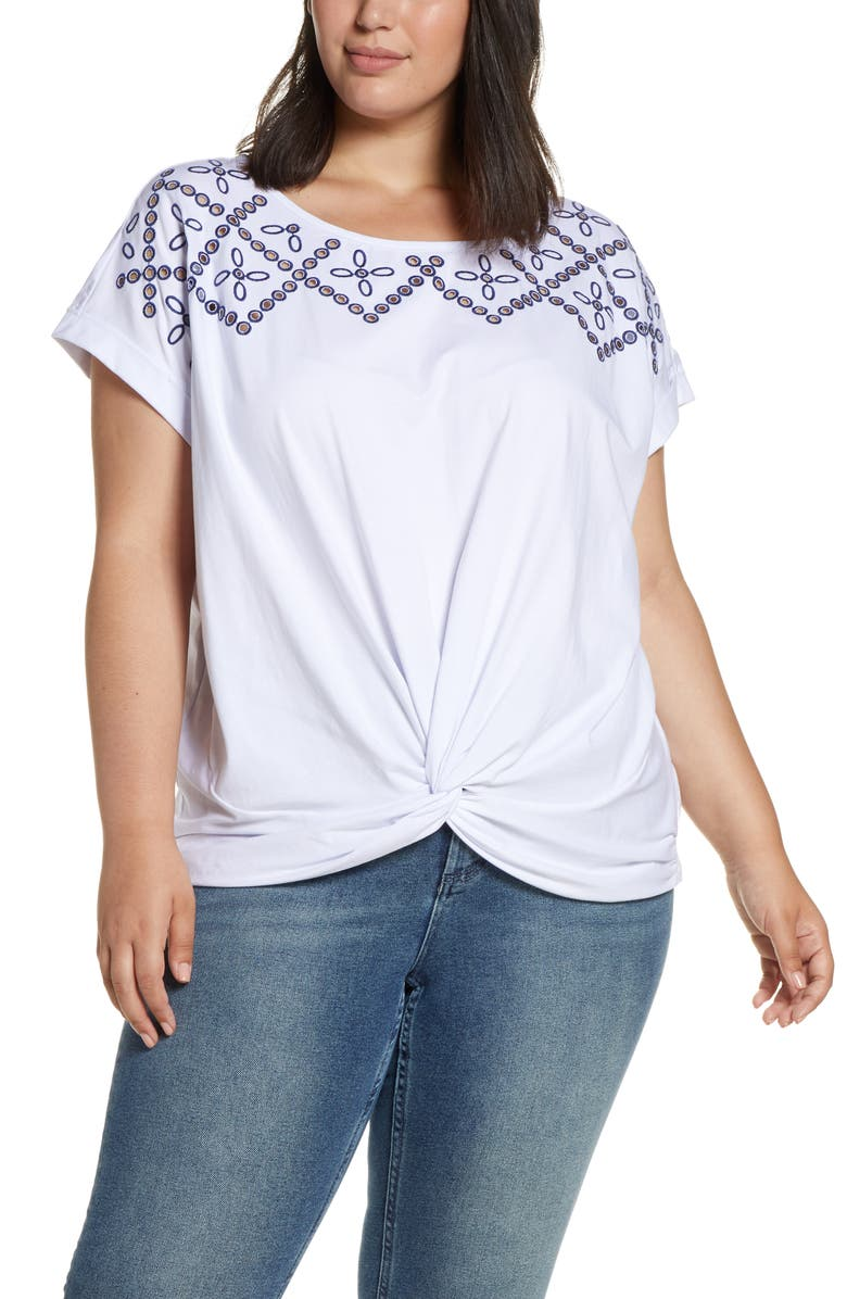 SINGLE THREAD Embroidered Yoke Knot Front Tee, Main, color, BRT WHT/ BLUE DEPTHS EMB