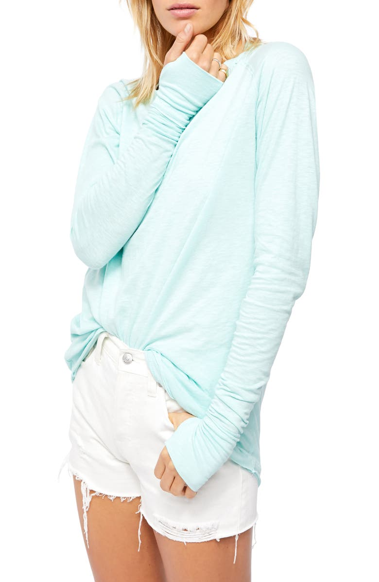 FREE PEOPLE Arden Extra Long Cotton Top, Main, color, SKY