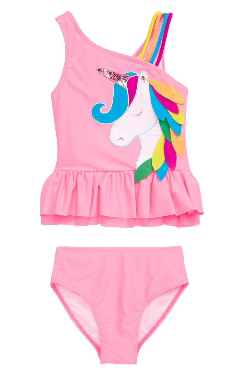FLAPDOODLES Unicorn Appliqué Two-Piece Tankini Swimsuit, Main, color, CORAL