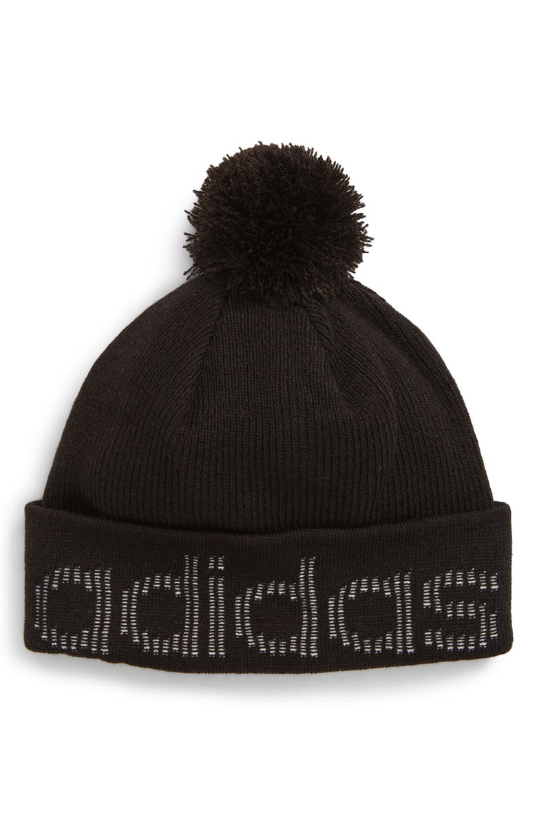 ADIDAS Originals Jacquard Logo Cuff Pom Beanie, Main, color, BLACK