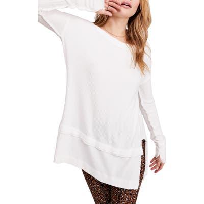Free People North Shore Thermal Knit Tunic Top, White