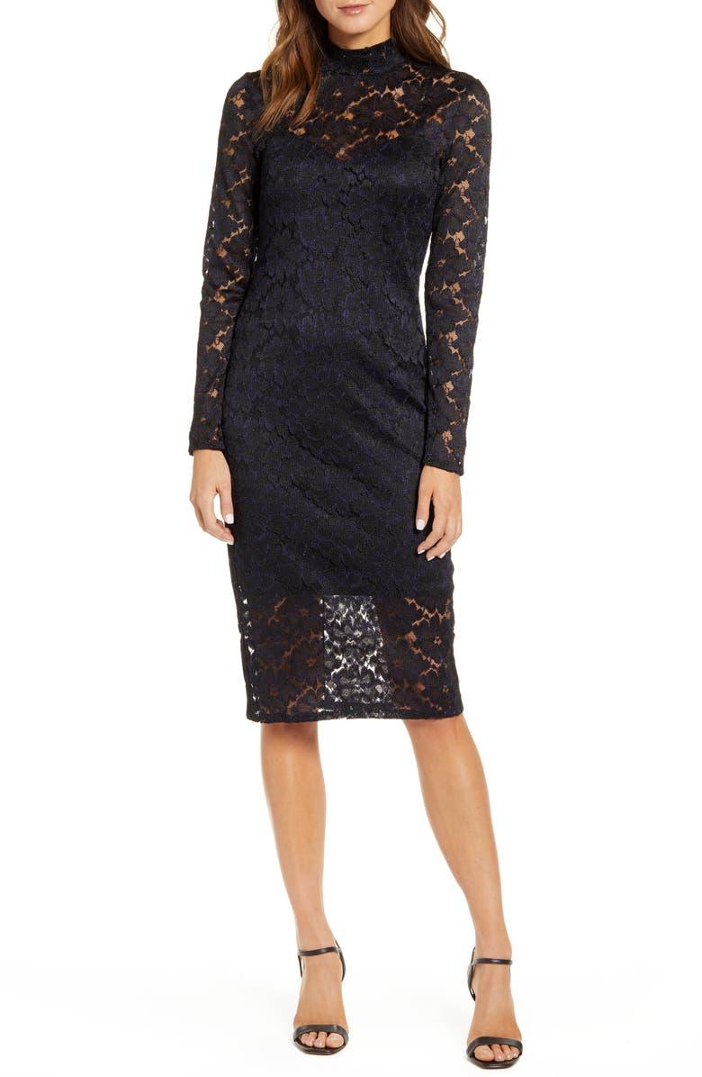 CHELSEA28 Long Sleeve Lace Sheath Dress, Main, color, BLACK- NAVY COMBO