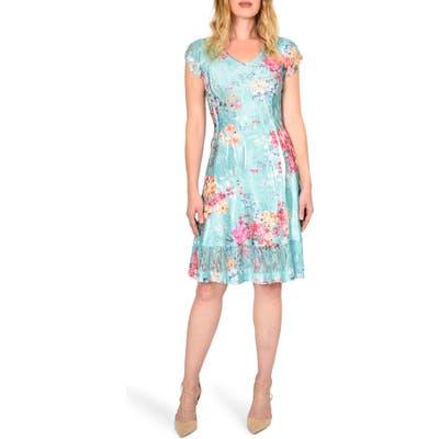 Komarov Floral Crinkle Dress, Blue/green