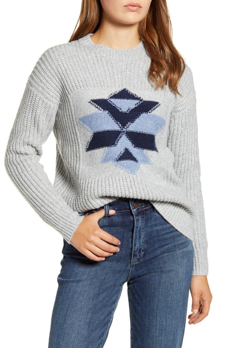 LUCKY BRAND Intarsia Snowflake Sweater, Main, color, 030
