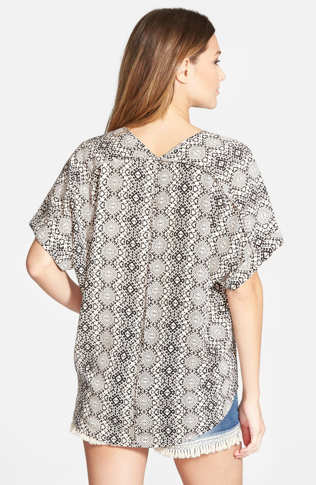 ,                             Lush Cuff Sleeve Woven Tee,                             Alternate thumbnail 12, color,                             006