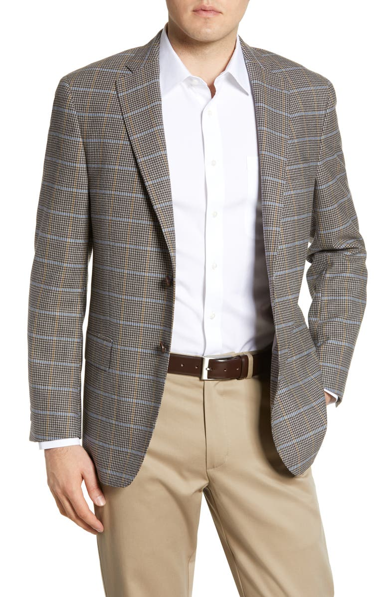 HART SCHAFFNER MARX Classic Fit Plaid Wool Sport Coat, Main, color, LIGHT BROWN