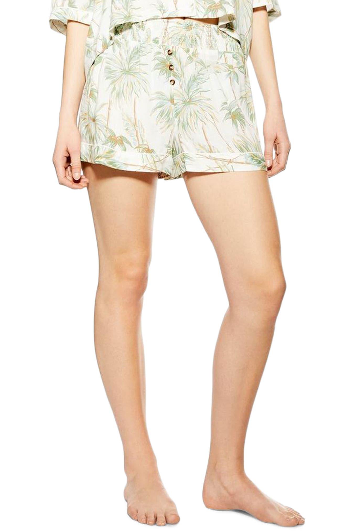 Topshop Tropical Print Pajama Shorts, White