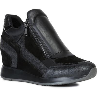 Geox Nydame Wedge Sneaker - Black