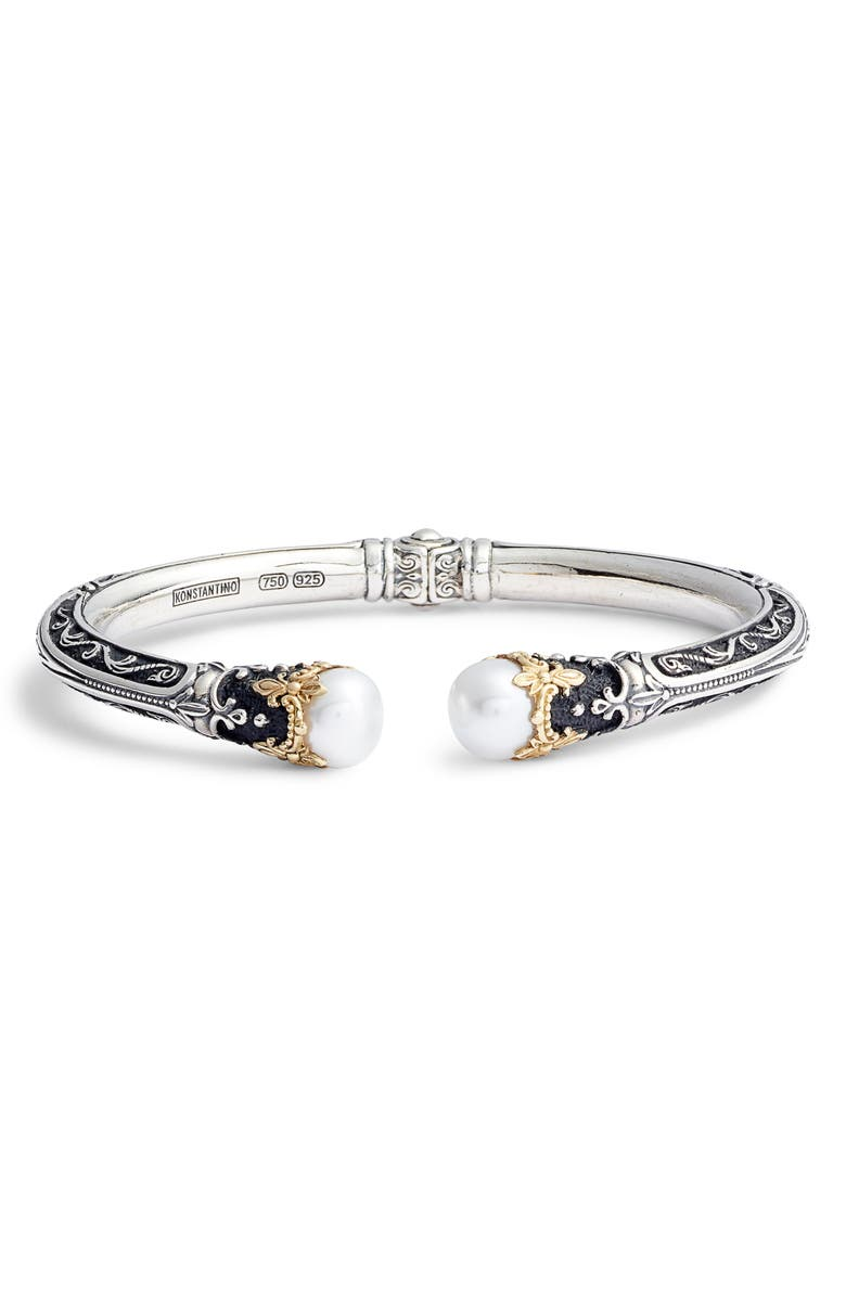 KONSTANTINO Pearl Hinge Cuff Bracelet, Main, color, SILVER / GOLD / PEARL