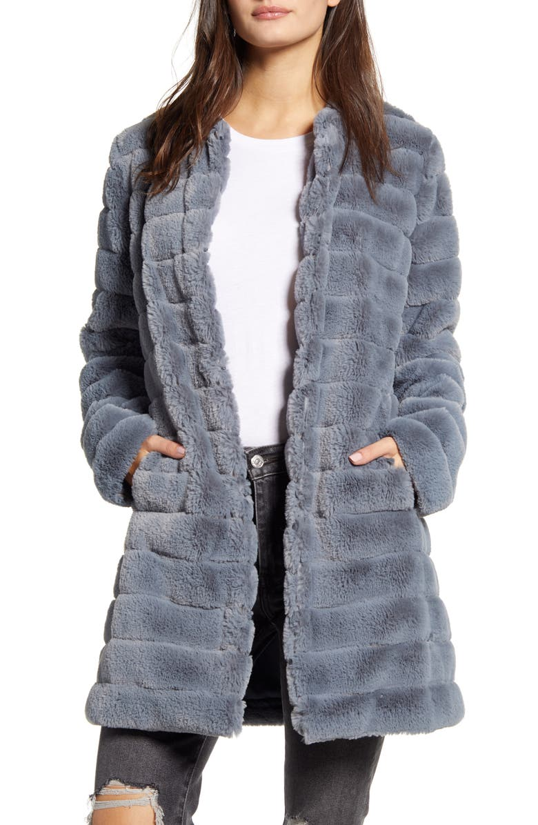 BB DAKOTA Anything For You Quilted Faux Fur Coat, Main, color, IRIS BLUE