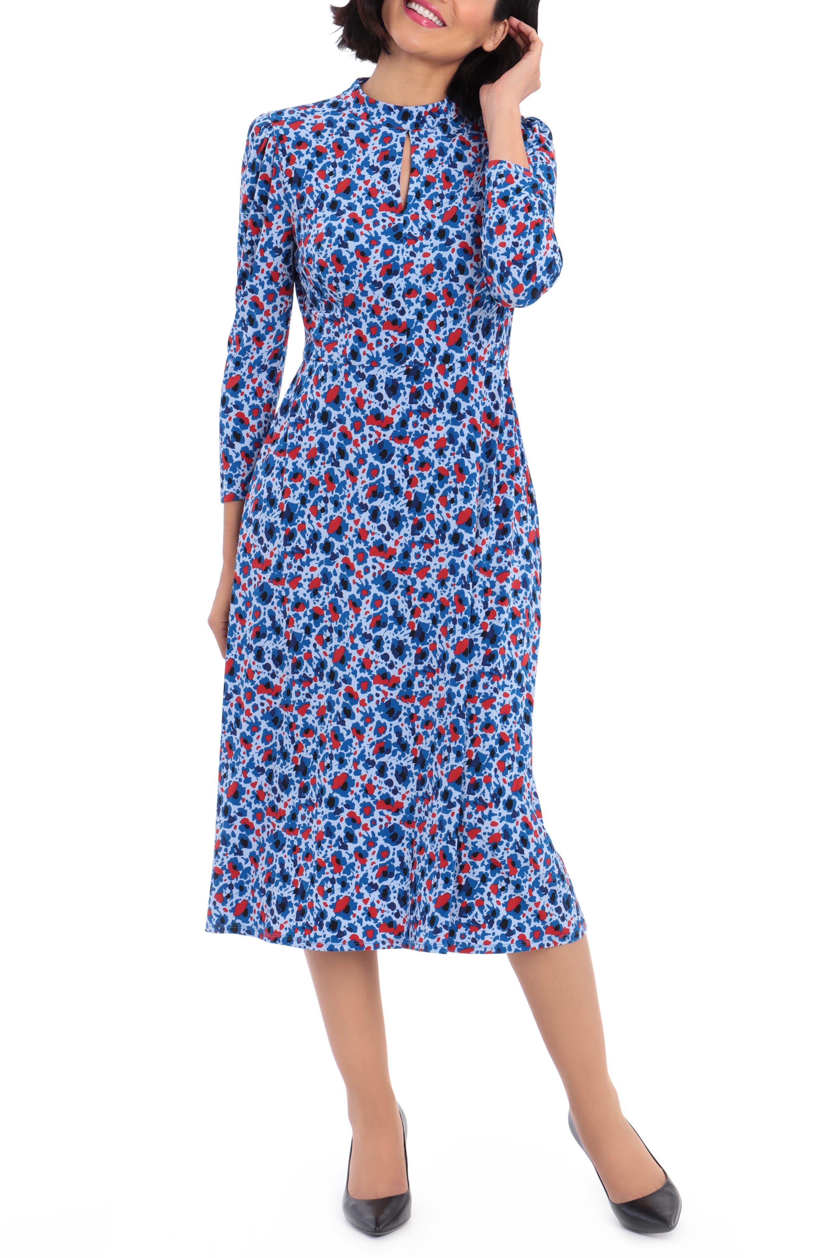 1930s Dresses | 30s Art Deco Dress Womens Maggy London Ditsy Midi Dress Size 6 - Blue $128.00 AT vintagedancer.com