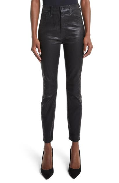 Mother THE SWOONER HIGH WAIST COATED ANKLE SKINNY JEANS